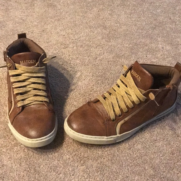 Mens Steve Madden Leather Sneakers